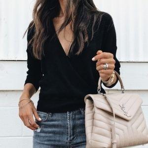 Leith Black Wrap Sweater